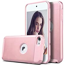 iPod Touch 5 Case,iPod Touch 6 Case,Lantier Simple Series Tuff 2 in 1 Dual layer Hybrid Hard Shockproof Protect Cover for Apple iPod Touch 5 6th Generation Rose Gold