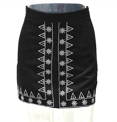 Artificiel Courte Taille Casual Cuir Haute Bigood Jupe Noir Slim Femme wqxEYaBX