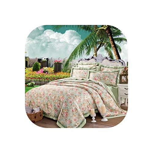 (YY Cherry Cotton Jacquard Floral Print Bedding Set 4Pcs Double King Queen Size Bedsheet Set Duvet Cover Home Decorative Pillowcases,8,King 4Pcs)