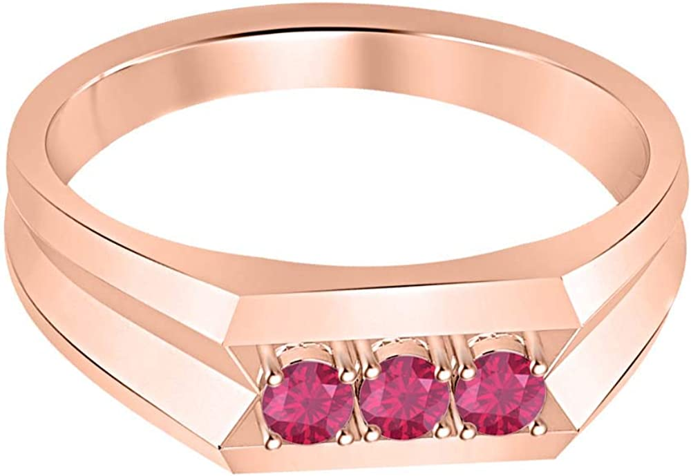 RUDRAFASHION 14k Rose Gold Plated Round Cut Pink Ruby 925 Sterling Silver Mens Anniversary Band Ring