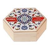 Mixed Nut Turkish Delight in Beautiful Wooden Hexagon Keepsake Gift Box 250g