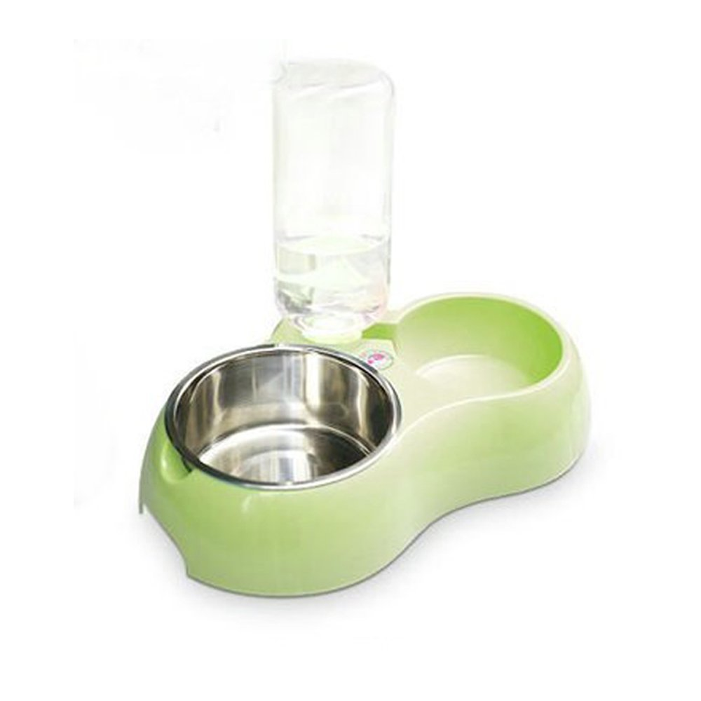 Dog And Cat Automatic Water Dispenser With Stainless Steel Food Bowl Light Green Small