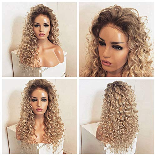 Long Blonde Kinky Curly Lace Front Wig 180 Density Heat Resistant Blonde hair Ombre Synthetic Wigs For Women -