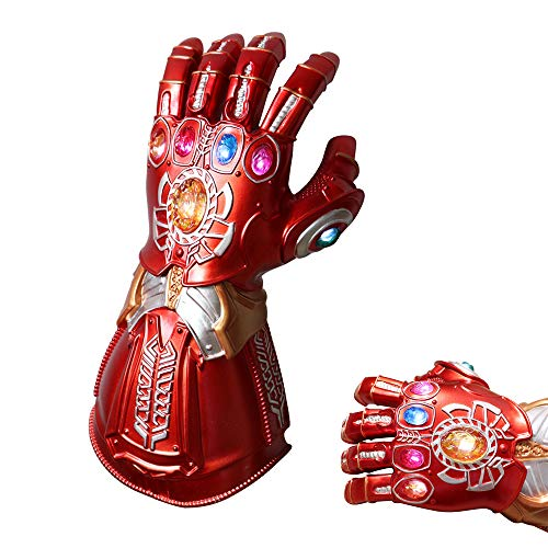 Cosplay Avengers Thanos Gauntlet, LED Light PVC Thanos Infinity Gloves for Halloween Carnival Party Props Red -