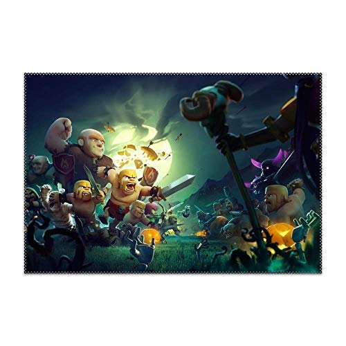 HTRFgdhxcv Placemats for Dining Table Holiday Halloween Clash of Clans Durable Kitchen Table Mats Washable Heat Resistant Stain-Resistant Non Slip Placemat 4 Pieces]()