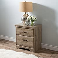 South Shore Versa 2 Drawer Wood Nightstand in Weathered Oak