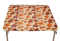"Walterdrake Autumn Leaves Elasticized Vinyl Table Cover 36"" Square"