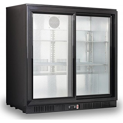 Kool NRLB-BD210AS Double Sliding Door Bottle Cooler Black
