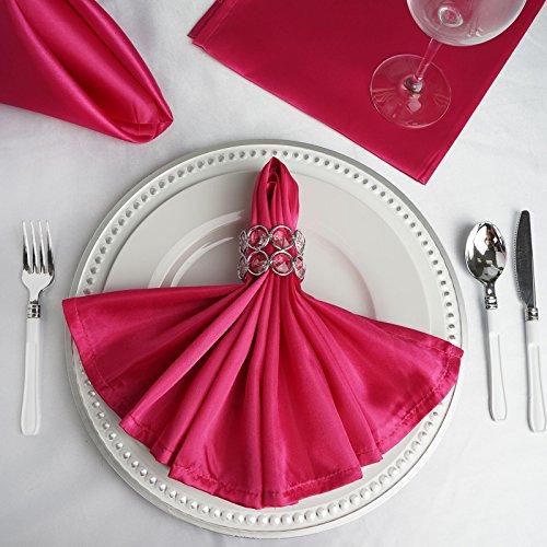 BalsaCircle 10 pcs 20-Inch Fuchsia Satin Dinner Napkins - for Wedding Party Reception Events Restaurant Kitchen Home ()