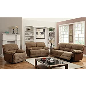 2 pc Malvern collection light brown ultra plush padded fabric upholstered sofa and love seat set with recliner ends