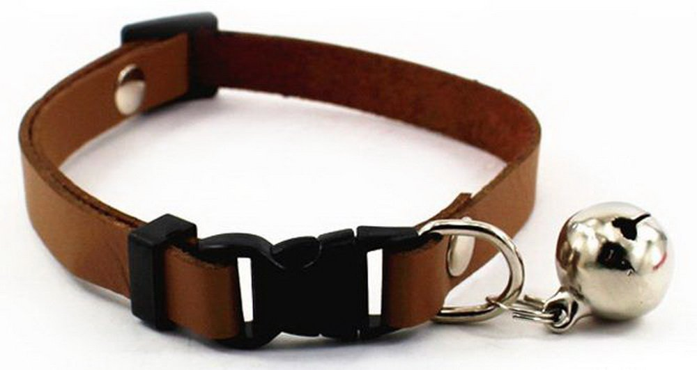 Adjustable Pet Dog Cat PU Leather Collar Release Buckle With Bell Black HappyDaddy