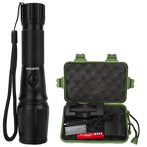 Rechargeable 1000 Lumens Battery Powered Light Flashlight with 5 Modes & Zoom Function Ultra Bright Torch for Camping,Hiking,Hunting,Fishing,BBQ and EDC