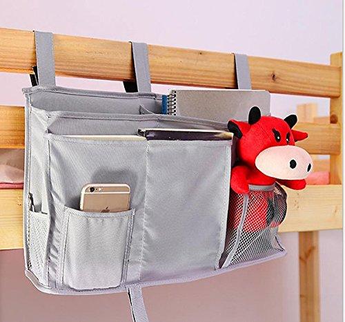 8 Pockets Hanging Storage Bag, Bedside Caddy for Dorm Room Cabin Beds/Bunks Nursery Baby Cot Stroller Book Magazine Cellphone Kids Diaper Toys Cup Bottle Holder Tidy Organiser Pouch Bag (Grey)