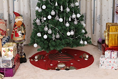 Sea Team 47'' Luxury Collection Cotton Blend & Non-woven Fabric Double-layer Applique Christmas Tree Skirt with Stereoscopic Pop Christmas Elements, Burgundy by Sea Team (Image #7)