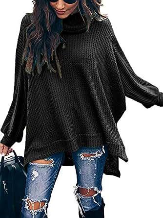 ETCYY Women's Turtleneck Waffle Knit Sweaters Batwing Lantern Sleeve Pullover High Low Hem Side Slit Tunic Jumper Tops-Black S