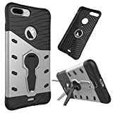 iPhone 7 Plus Case, NOKEA Heavy [Heavy Duty] [Dual Layer] Combo Holster Cover Defender Full Body Protective Cover with 360 Degree Rotating Kickstand for iPhone 7 Plus (Silver)