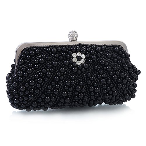 Handbag Damara Evening Messenger Elegant Pearls Black Women Elegant Damara Bags XYOrTnY