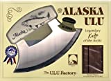 7'' Inupiat Style Cultured Ivory Handled Ulu with Walnut Stand (Etched Salmon)