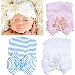 DRESHOW BQUBO Newborn Hospital Hat Infant Baby Hat Cap with Big Bow Soft Cute Knot Nursery Beanie Pack 3