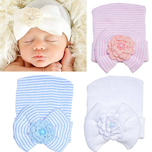 DRESHOW 3 Pcs Newborn Hospital Hat Infant Baby Hat Cap with Big Bow Soft Cute Knot Nursery Beanie (Style A)