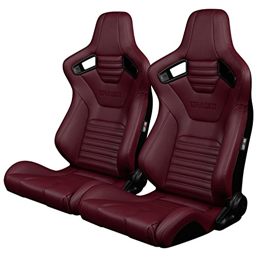 BRAUM - Pair of Maroon Leatherette ELITE-X Racing Seats with Black Stitches (BRR1X-MRBS) ()