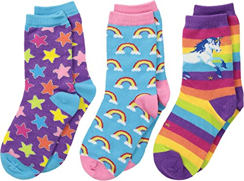 Socksmith Little Kids Mini Sparkle Party Crew Socks - 3 Pack, Purple Multi, 4-7 Years]()
