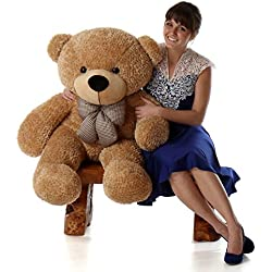 4 Foot Huge Stuffed Bear Amber Brown Color Smiley Face Plush Teddy Bear Toy Shaggy Cuddles