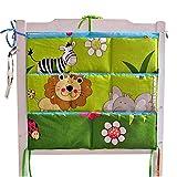 Cute Baby Crib Hanging Diaper Bag Storage Bag Baby Room Decor, Lion/Zebra
