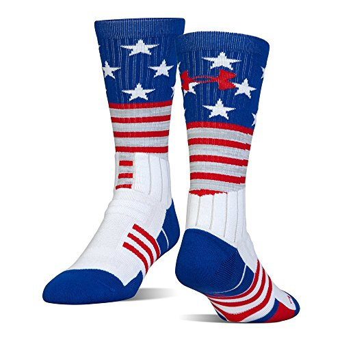 Under Armour Unrivaled Stars & Stripes Crew Single Pr Athletic Socks, White, Large ()
