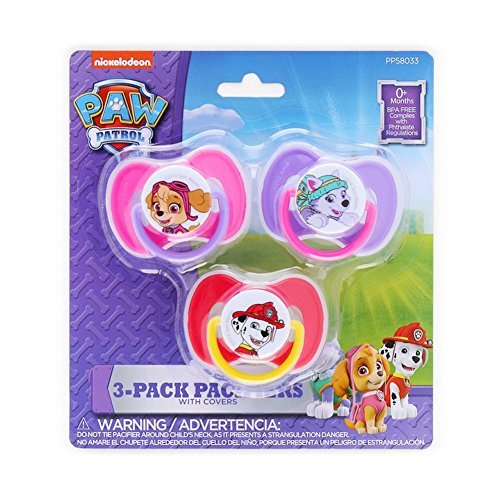Paw Patrol Pacifiers with Covers PBA-Free 3-Pack for Baby Infant Toddler Girls featuring Skye, Everest & Marshall