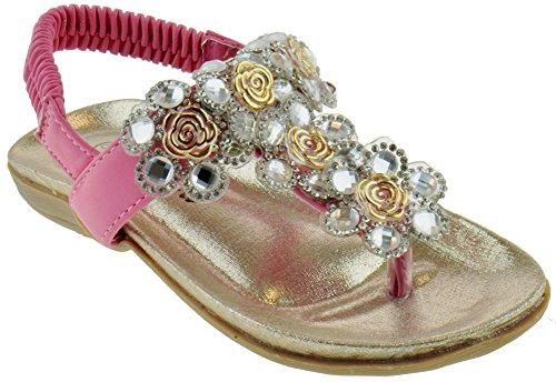 Crab 1716KM Little Girls Gladiator Floral Rhinestone Comfort Flat Sandals Pink 4 (Youth Sandals Girls Pink)