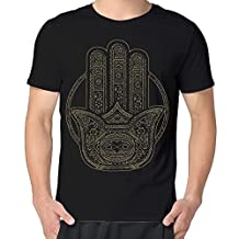 Mens Guys Henna Hamsa Short O-Neck Tee Shirts