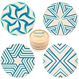 Coasters for Drinks Absorbent | Ceramic Stone | Cork Back | Set of 4 | Large 4'' | Modern Unique Designs | Turquoise - Blue Colors | Handcrafted Box |