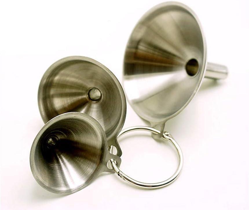 Transferring Essential Oils vijTIAN Durable Stainless Steel Funnels Set 3pc Canning Detachable Strainer Filter Mini Funnel for Adding Salt Pepper to Shakers