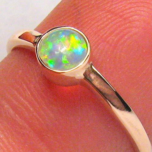 1.5g 14k Rose Gold Genuine Natural Australian Opal Ring Solid Gem Crystal #926