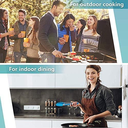 HONGLONG Pinces pour Barbecue, Pinces De Cuisine, Pince en Silicone, sans BPA, Résistance À La Chaleur Maximale 480 ° F, Utilisée pour La Cuisson, Barbecue (Multicolore),Chrome