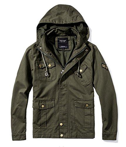 Militares Verde Las el Shuanghao chaquetón con Chaquetas superan los Caliente de Abrigo del algodón del Nuevas Hombres Capucha wAdqTd4t