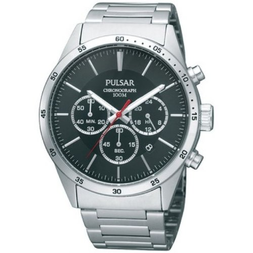 Pulsar Uhren PT3005X1 - Reloj cronógrafo de Cuarzo para Hombre con Correa de Acero Inoxidable, Color Plateado
