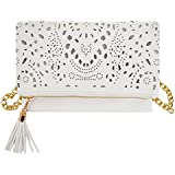 Rebecca Women Leather Hollow Out Floral Crossbody Bag Evening Shoulder Bag Party Chain Handbag Tassels Clutch Purse (White)
