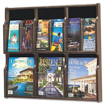 Safco 18 Pocket (Safco Literature Rack, 18 Pockets, 29-3/4quot;x2-1/4quot;x26-1/4quot;, MYBK)