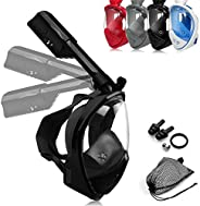 LEUCOTHEA Snorkel Mask Full Face Diving Mask Swimming Scuba Detachable Breathing Tube with Action Camera Mount