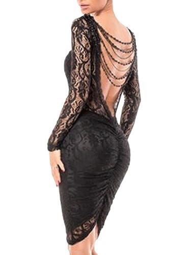made2envy Lace Bodycon Open Back Chain Midi Dress