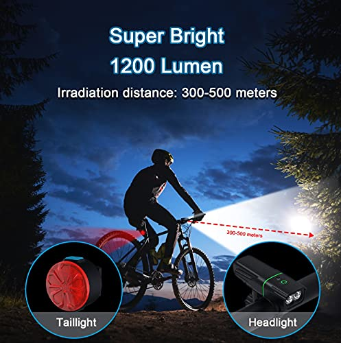 Bike Lights Set USB Rechargeable,cshare 1200 Lumen Super Bright Dual LED Bike Headlight with Taillight, 20 Light Modes,Waterproof Bicycle Lights Front and Back for Men Women Kids Road Mountain Cycling