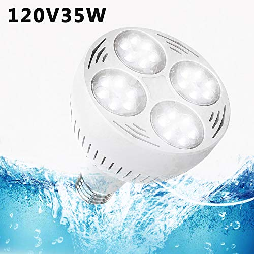 E-cowlboy Pool Lights LED, 300-500w Traditional Bulb Replacement 120V 35watt 6000k Daylight White Light Swimming Pool LED Light Bulb with E26 Screw Base For Pentair Hayward Light Fixture(White) by E-cowlboy