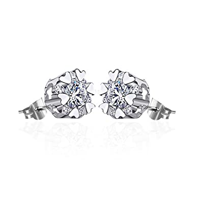 LANMPU 925 Sterling Silver Swarovski Elements Sparkling Diamond Stud Earrings for Women ZHaTV