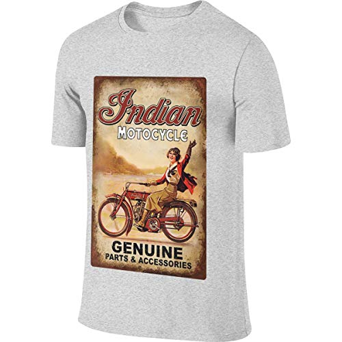 Syins Man Design Humor Tees Indian Motorcycle Retro Posters T Shirt Gray