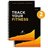 Workout Log Book & Fitness Journal - Designed by Experts, w/Illustrations : Track Gym, Bodybuilding & Crossfit Progress : Sturdy Binding, Thick Pages & Laminated, Protected Cover 1 or 2-Pack
