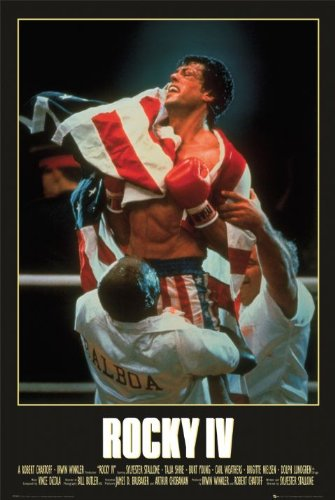 Rocky IV Movie Sylvester Stallone with Flag Poster Print