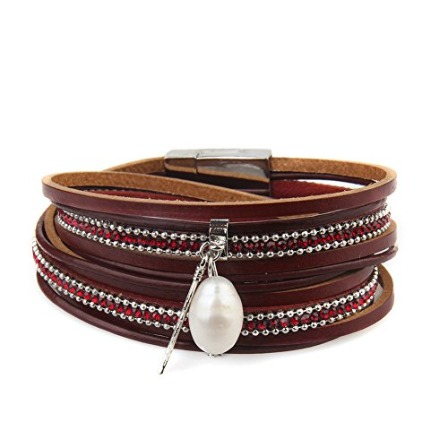 Women's Genuine Leather Vintage Feather Wrap Bangle Bracelet with Pearl Pendant and Magnet Buckle by Jenia