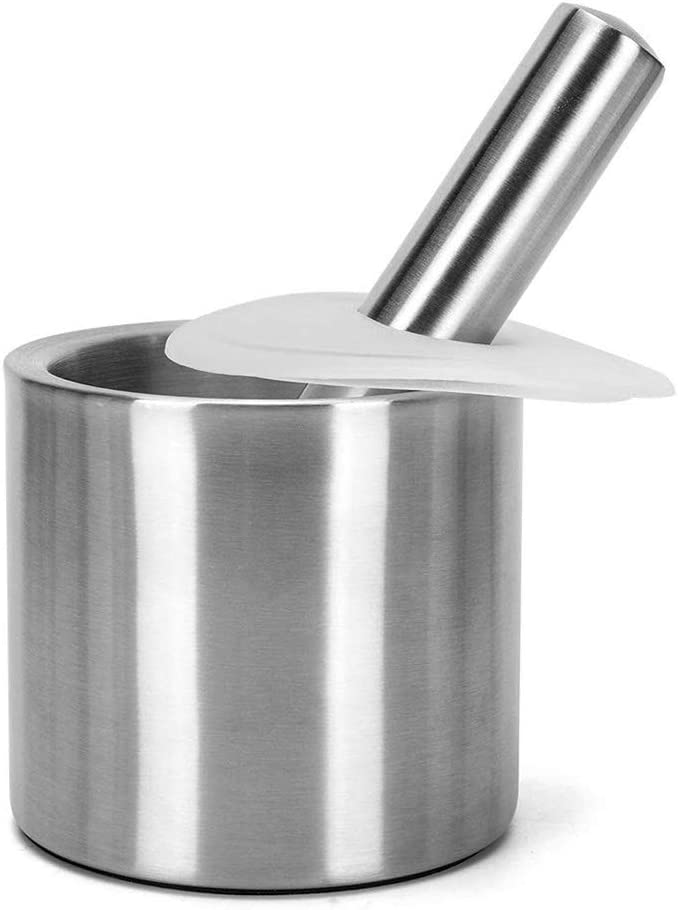Mortero Pestle Stainless Steel with Lid Base Anti-Skid Kitchen Supplies, Medicine Box, Baby Food Supplement Grinding Tool